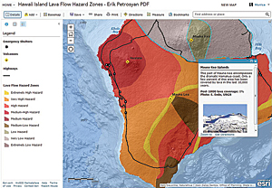 This web map showing lava flow hazard zones on Hawaii Island was created by Clark Magnet High School student Erik Petrosyan.