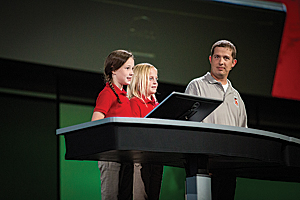 Rikki Vaughan and Kylie Miller, two fourth graders, and their teacher, Josh Worthy, told how ArcGIS was being used by students to solve problems in their community and explore science.