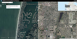 The swipe feature in Pinellas County's Aerial Image Retrieval System juxtaposes any two imagery datasets such as the imagery from 2014 and 2004 shown here.