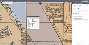 A search by corner record zooms to the location specified by township, range, and section.