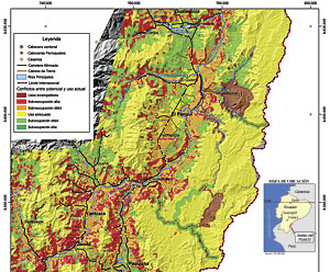 Map identifying land-use conflicts in the Cordillera del Cóndor mountain range shows that the Shuar territories are less conflicted than the areas by invaded settlers. (Map courtesy of AmazonGISnet/Geoinfo/Fundacion Natura, 2004)