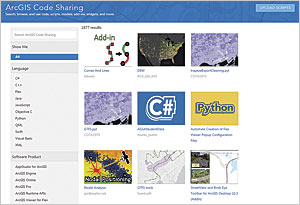 ArcGIS Code Sharing has a simple user interface for discovering and sharing contributions.