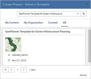 After signing into GeoPlanner, select All to search content for the GeoPlanner Template for Green Infrastructure Planning.