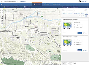 Locate the Green Infrastructure Suitability analysis service to use it to generate a suitability model.