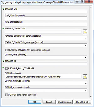 Figure 6: Initial geoprocessing tool dialog box for a remote WPS process