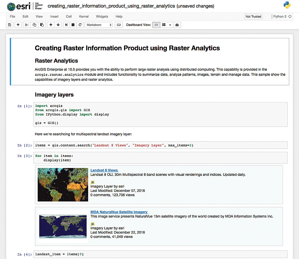 A whole new way to experience gis arcuser immediately access the jupyter notebook samples at notebooksri to learn how to take advantage of integrative capabilities of the arcgis api for xflitez Gallery