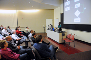 People interested in GIS listened to lectures at the University of Redlands in California.