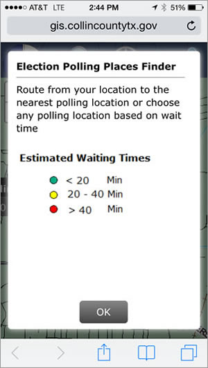 The app shows real-time wait times at the voting centers throughout Collin County.