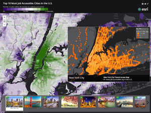 The colors in the photographs complement the colors in the job accessibility map.
