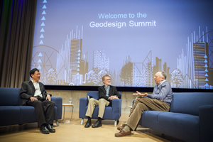 Kongjian Yu (left), the founder of Turenscape, speaks with  Tom Fisher (center) and Jack Dangermond about the importance of creating an ecological infrastructure.