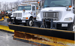 Plows in Prince George's County wait to be dispatched.