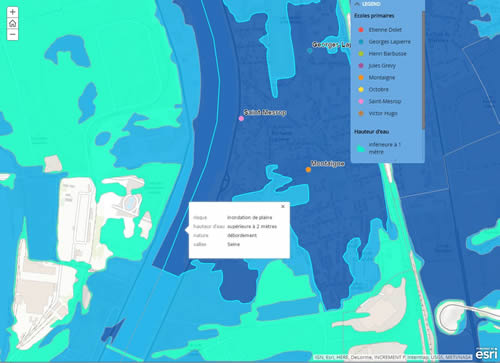 This flood inundation map was created using Esri ArcGIS.