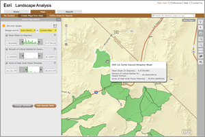 Esri landscape analysis services can provide environmental analyses and reports.