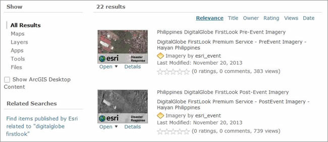 DigitalGlobe FirstLook pre- and postevent services are listed in ArcGIS Online.
