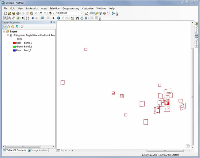 Displaying the footprints in ArcMap is a good way to see where all the images are located.