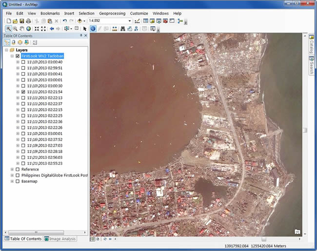 WorldView-2 Imagery from DigitalGlobe over the Peninsula in Tacloban City, the Philippines