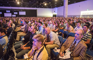 The crowd at Esri UC listens intently during the ArcGIS technology demonstrations.