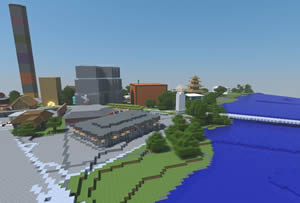 GIS data can be integrated into the video game Minecraft. Image courtesy of Sweco.