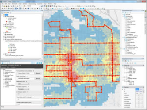 The Sugar Access solution for ArcGIS features a unique hybrid desktop and cloud computing workflow, shown here analyzing walk access to bus stops in Fontana, California.