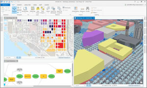 Using ArcGIS Pro, you can view and analyze urban planning data in both 2D and 3D, including complex analytical results such as the airflow between buildings.