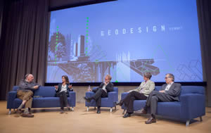 Esri president Jack Dangermond discusses green infrastructure with landscape architect Arancha Muñoz-Criado,  Geodesign Summit emcee Thomas Fisher,  Breece Robertson from the Trust for Public Land, and David Rouse from the American Planning Association.
