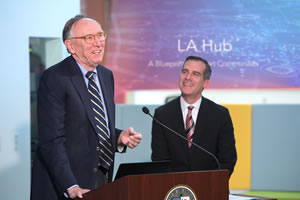 Esri president Jack Dangermond (left) joins Los Angeles Mayor Eric Garcetti at the launch of the GeoHub.
