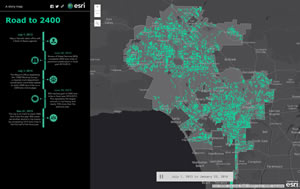 View the road work completed in the City of Los Angeles over time using the Road to 2400 mapping app.