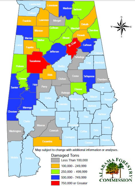 The Volume Of Timber Damage Was Calculated For Each Of The 39 Alabama Counties Impacted By The Tornadoes The Data Is From Afc Esri National Land Cover