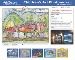 The Children's Art Photomosaic website lets people zoom in on each photomosaic and  search for individual pieces of student art.