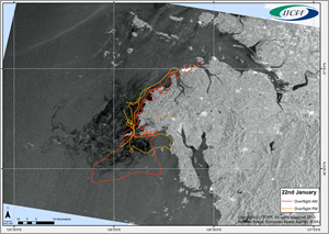 An aerial surveillance map shows a satellite image of an oil spill site and the flight paths of surveillance planes.