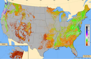 This map shows aboveground forest biomass in live trees, stumps, branches, and twigs. Biomass is important for keeping carbon out of the atmosphere.