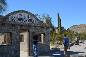 Arizona State Land Department employees use Esri's Collector for ArcGIS to gather data  at Scorpion Gulch, an old trading post located  in South Mountain Park, Arizona.