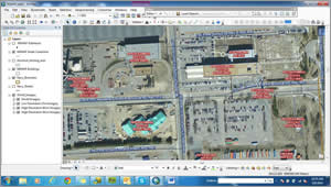 The addressing process is done in ArcGIS for Desktop. Address labels can be seen along with centerlines, street names, and the street ranges.  Data analysts often use imagery for more informed decision making.