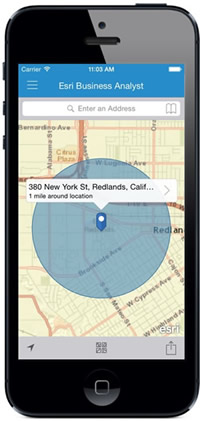 Here, the app has generated a one-mile radius market area around 380 New York Street.