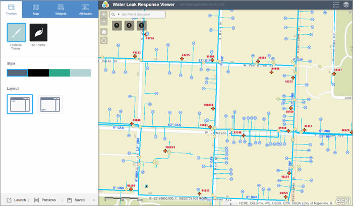 Figure 2: Web AppBuilder for ArcGIS provides a dynamic interface. As changes are made on the left panels, they will appear in the right panel of the preview window.