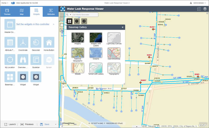 Figure 6: Preview the Basemap widget in Web AppBuilder for ArcGIS.