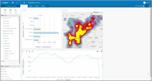 Crime statistics are displayed as a heat map, a graph, and a chart using Insights for ArcGIS.