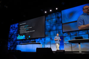 "ArcGIS program manager Jim McKinney underscored the ""For Developers, By Developers"" theme of the DevSummit."
