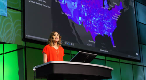 Jennifer Bell from Esri talks about publishing vector tile layers in ArcGIS Pro during an Esri Developer Summit presentation.