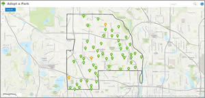 The parks available to adopt are symbolized in green on the Adopt a Park app.