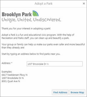 The Adopt a Park app includes a search box for addresses. If you type in an address, the app will return the closest parks to that location.