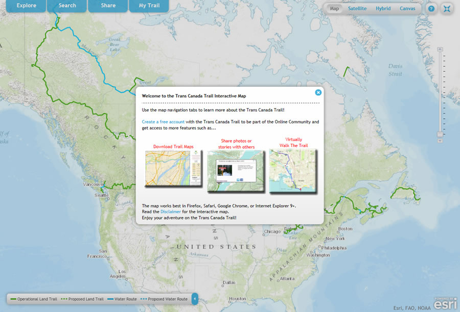 Mapping trans canada trail adventures online you can download trail maps plan activities and share photos and stories using the trans canada trail interactive map you can create virtual hikes too gumiabroncs Gallery