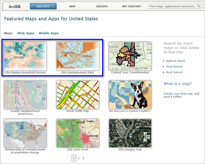 Choose 2 maps from the ArcGIS Online Gallery to compare.