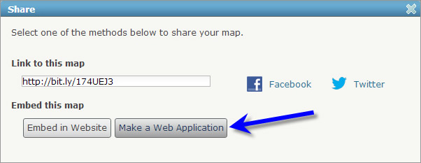 On the Share menu, choose Make a Web Application.