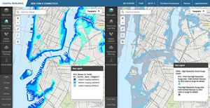 Comparing modeled storm surge (left) with the FEMA flood inundation layer from Hurricane Sandy, users can visualize which emergency and hazard mitigation models have a higher level of accuracy and confidence.
