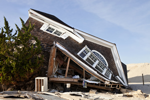 Hurricane Sandy damaged this house in Ortley Beach, New Jersey.