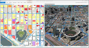 Geodesigners can design and edit in 2D and 3D using ArcGIS Pro.