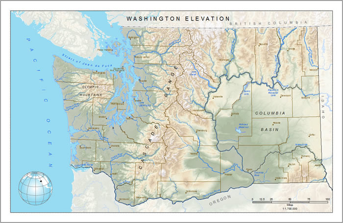 Figure 2. Text for important physical features, such as water bodies and mountains, and neighboring areas, such as states or countries, appear in a finished, professional map.