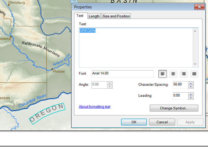 Figure 5. With the Splined Text tool, you can draw curved text such as OREGON.