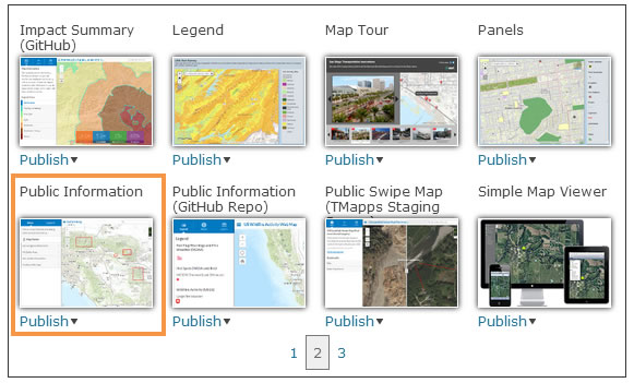 This is the web mapping application gallery you will see when you decide to share your web map as a web mapping application.